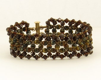 Mocca Tiger Eye Woven Bracelet - 6.75 inches
