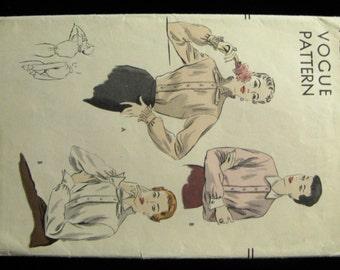 Vintage 50s Vogue Frilly Secretary Blouse Pattern 7123, 34-inch Bust