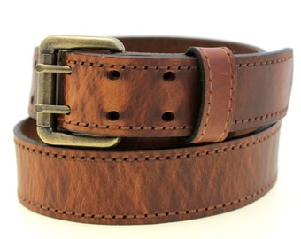 "American Made 1 1/2"" Tan Hot Dipped Harness Leather Belt With Double Hole And Faux Stitching Pattern"