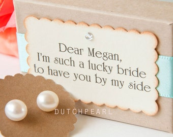 11 sets - PERSONALIZED BRIDESMAID GIFT - Genuine pearl earrings gift box -  thank you for being my bridesmaid -bridesmaid invitation kit box