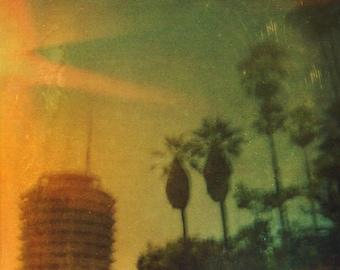 film camera, plastic camera, medium format, hollywood, capital record building, palm trees 5x5, 10x10