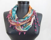 scarf for women - mint green triangle scarf - Oya Scarf - scarf fashion - floral scarf - scarf accessories - triangle scarves