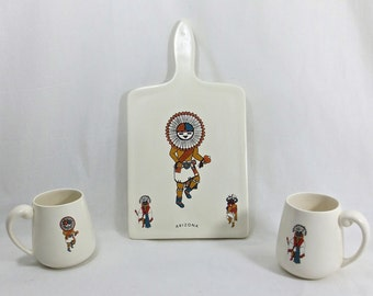 Vintage 1970's Hand Made Decorative Ceramic Kachina Coffee Mugs & Cutting Board Set