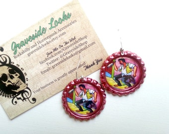 NEW Metallic Pink El Borracho Bottlecap Earrings