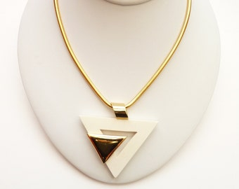 Vintage White and Gold Modernist Pendant Necklace 20 Inch Gold Snake Chain
