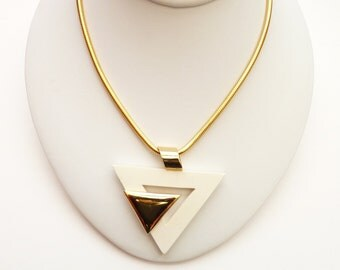 Vintage Modernist White and Gold Pendant Necklace 20 Inch Gold Snake Chain