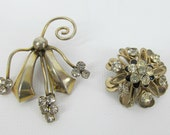 Vintage Pair of Faded Gold Tone Rhinestone Brooches Perfect for Upcycling
