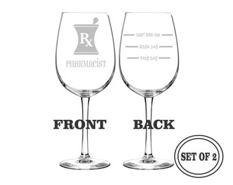 2 PHARMACIST ETCHED Wine Glasses Set of 2 Engraved Wine Glasses Gift for Pharmacist Funny Wine Glasses Gift Toasting Glasses Cocktail Glass
