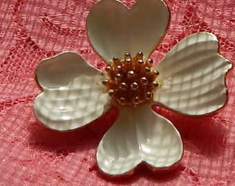 1960s White Dogwood Brooch with gold tone Center