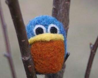 Baby Bluebird / Needle Felted Baby Bird Dark Blue