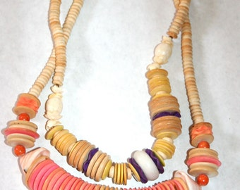 Pair of Awesome Vintage Tribal Shell Necklaces
