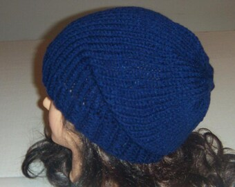 Navy Blue Slouchy Beanie Hat