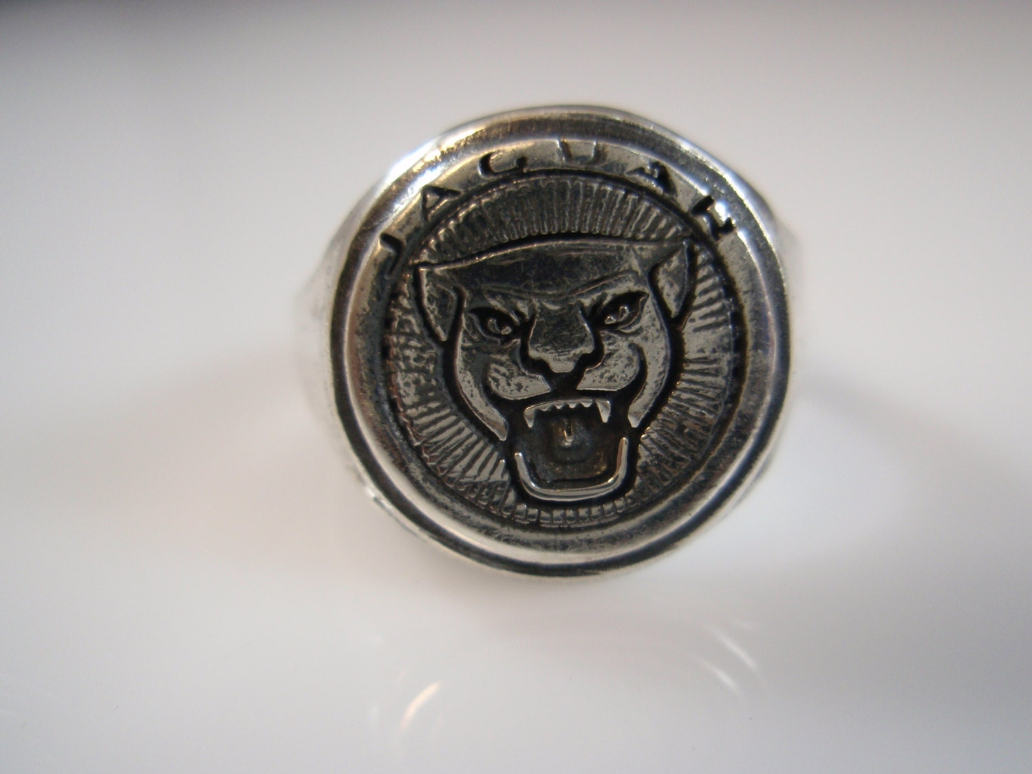 jaguar cars limited logo ring solid sterling silver by