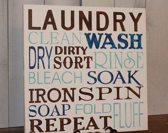 Laundry Subway Sign/Laundry Room Sign/Clean/Wash/Dry/Iron/Spin/Bleach/Laundry Art/Brown/Blues
