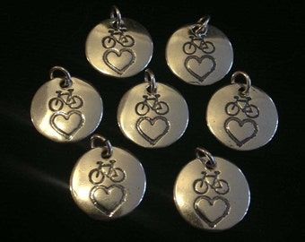 Bike And Heart Sterling Silver Charm