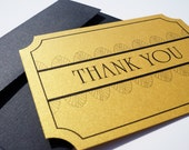 Art Deco Thank You Card : Old Hollywood and Great Gatsby Style - FREE SHIPPING