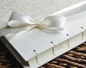 Elegant Guest Book or Album, Lace Guest Book in White and Ivory {MADE upon ORDER}