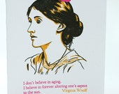 Happy Birthday Letterpress card - Virginia Woolf Quote