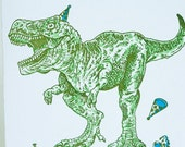 Happy Birthday Letterpress card - Jurassic Party