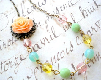 Pastel Wedding Jewelry Peach Flower Necklace Beadwork Glass Necklace Bridal Flower Jewelry Pastel Necklace One Strand Glass Necklace