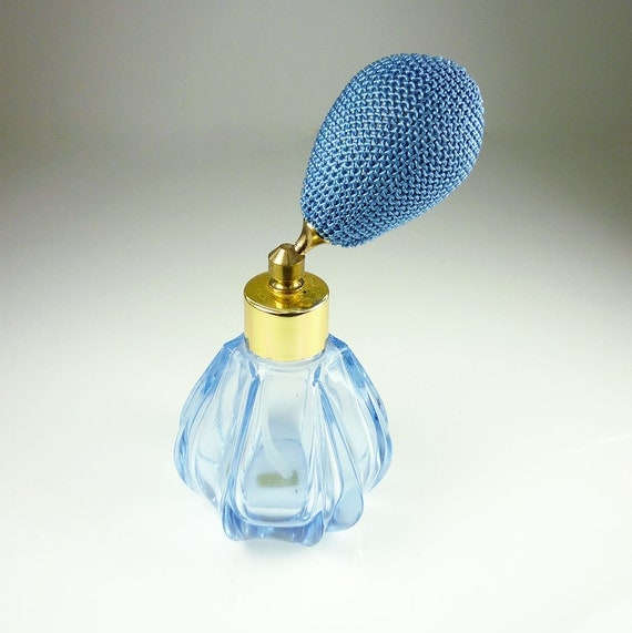 Vintage Perfume Bottle Atomizer Austria Blue Glass Retro