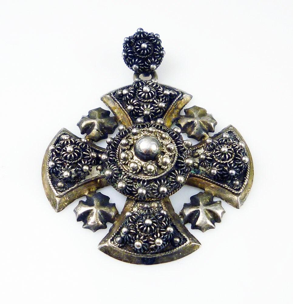 vintage pendant jerusalem sterling silver maltese cross