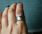 Three Silver Rings- MADE TO ORDER- Metalsmith ring- oxidized antique patina sterling silver 3-ring stacking set