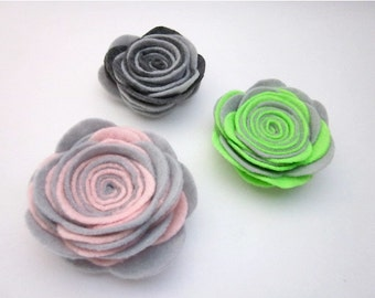 Light Grey Brooch -- Two Tone Pin -- Large Felt Flower -- Felt Pin -- Felt Flower Pin -- Grey Flower Brooch -- Grey Pink Lime Pin