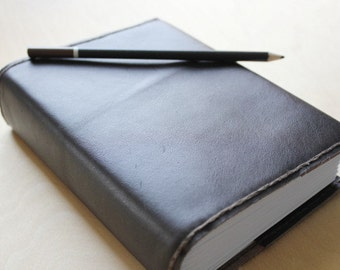 Journal leather refillable (LARGE) - graph paper, lined paper or blank paper