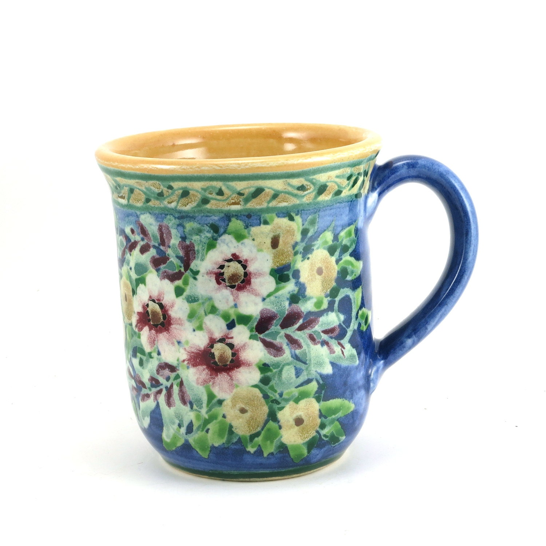 Unique Coffee Mug Dark Blue Ceramic Coffee Cup With Flower