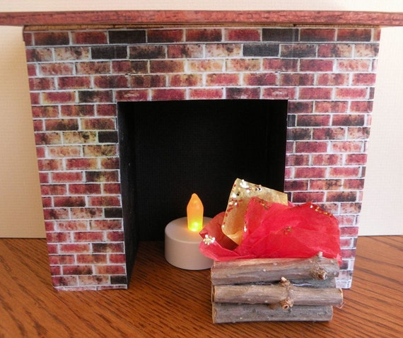 1 to 6 Scale Barbie Fireplace with Flickering Light and  Firewood