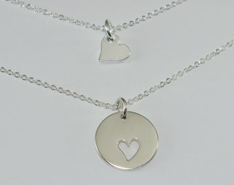 Mother and Daughter Jewelry, Mother's Necklace, Sterling Silver Heart Charms, Gift Set, Free US Shipping