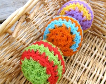 Set of 3- Summery Swirl Nylon Net Scrubbies