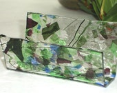 Fused Glass Business Card Holder -  Blues and purples 8231