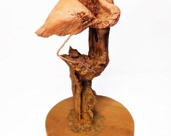 Flamingo Way Original Rick Cain Wood Carving Sculpture 2014