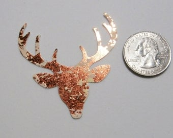 6 Copper Reindeer diecuts - Christmas cardstock punches