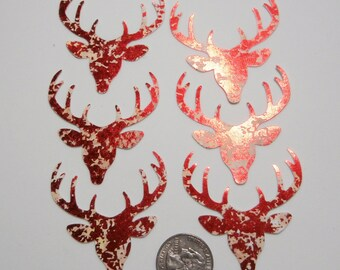 6 Red Lame' Reindeer diecuts - Christmas cardstock punches