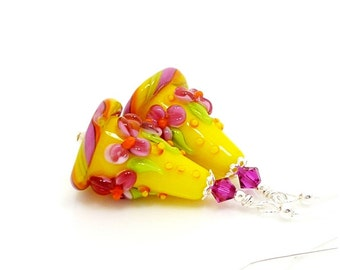 Yellow & Pink Floral Earrings, Colorful Flower Earrings, Lampwork Earrings, Beadwork Earrings, Glass Bead Earrings, Lampwork Jewerly