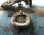 Silver Flowers Wax Seal Necklace. Wax Seal Jewelry in Fine Silver. Petite Floral Pendant Necklace. Vintage Style Jewelry