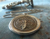 Bee Wax Seal Necklace. Fine Silver Artisan Necklace. Vintage Style Handmade Wax Seal Jewelry