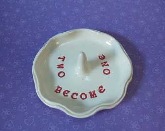 Two Become One Ring Dish - Ring, Jewelry Holder - White with Red Lettering - In Stock