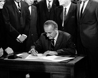 LBJ Lyndon Johnson President of the United States image Signing Civil Rights Legislation.