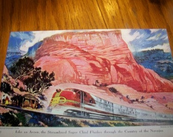Thornton Oakley illustration removed from a magazine two for the price of one industrial Super Chief Santa Fe Railroad Great Lakes Steamers