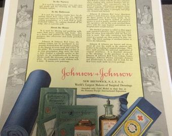 Johnson and Johnson vintage ad circa 1917 ready to frame.
