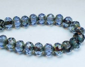 Czech Glass Beads 6mm Light Sapphire Blue with Picasso Faceted Rondelles 15 Pcs. RON6-541