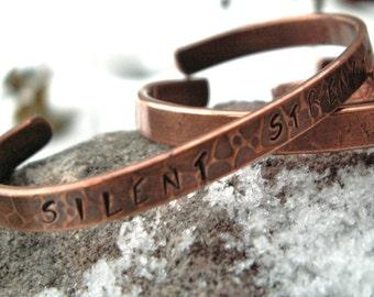 Silent Strength Companion Cuff -:- Copper textured cuff. Sentitment. Message jewelry. Stamped. Rustic. Copper jewelry.