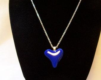 Heart Necklace, Glass Heart Necklace, Blue Heart