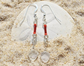 Swinging Genuine Sea Glass Earrings Beaded in Red and White Sterling Silver Beach Glass Earrings Free Shipping Wrapped  Beach Earrings 3294
