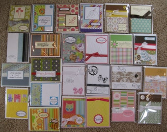 Large lot of 25 handmade wholesale greeting cards.  Happy Birthday, Thinking of you, Different Holiday cards, Welcome baby girl and boy