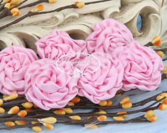 New: 6 pcs LIGHT PINK 1.5 inch Adorable PETITE Matte Satin Rolled Rose Rosettes Fabric flowers. Mini Silk Rolled Rosette Appliques.